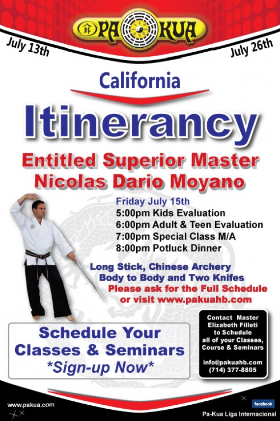Entitled Superior Responsible Master Moyano's July Itinerancy
